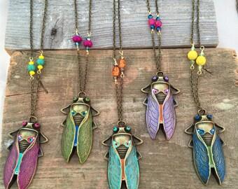 Handpainted Cicadia Bug Necklace