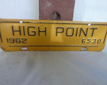 Vintage North Carolina 1962 High Point City Tag