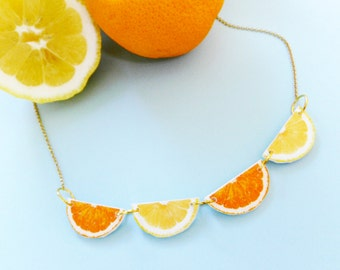 Lemon and orange slices Necklace / Fruit  Necklace