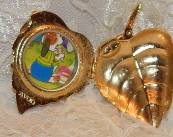 Golden Leaf hinged Brooch , Locket,  Empty Perfume container by Avon