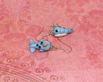 Blue Narwhal Earrings, Narwhals, Sea Creatures, Handmade, Polymer Clay, Narwhal Charm, Animal Earring, Animal Jewelry, Unicorns of the Sea
