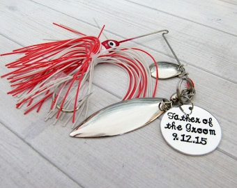 Father of the groom lure, hand stamped fishing lure, gift for dad, personalized lure, fishing hook