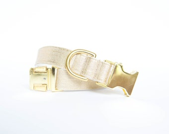 Dog Collar in Metallic Gold Linen