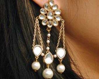 Dangling White Pearl Earrings. Kundan Earrings. Pear Shape Kundan Earrings. Golden Chain Earrings. Hand Crafted Earrings. Women Stud Earring