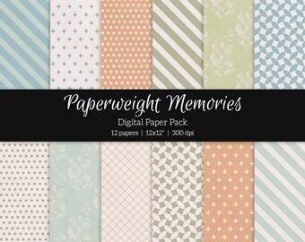 Digital Patterned Paper - Forgotten Dreams - Instant Download -  digital scrapbooking - patterned paper - Commercial use