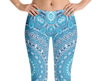 Leggings Yoga Blue, Mandala Yoga Tights, Printed Yoga Tights, Mandala Art Pants, Blue Leggings, Fashion Leggings, Womens Stretch Pants