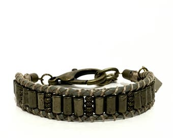 Casual - Glam'sport Style - braided leather wrap Bracelet for men - Pyrite and brass - charm triangle