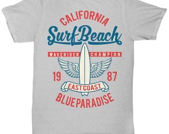 California Surf Beach 1987 Blue Paradise T-shirt