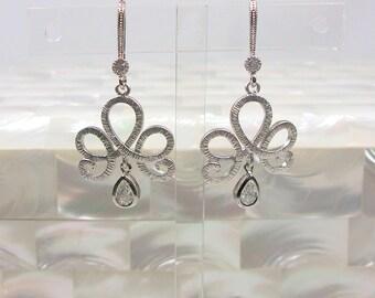 Cubic Zirconia Earrings, Silver Earrings, Drop Earrings, Dangle Earrings, Fashion Earrings, Wedding Jewelry