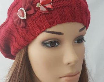 Red Cotton Tichel, Red Tam, Jewish Head Covring, Headcover, Chemo Hat, Red Beret, Women's Hat, Handmade Hat ,Chemo Cap