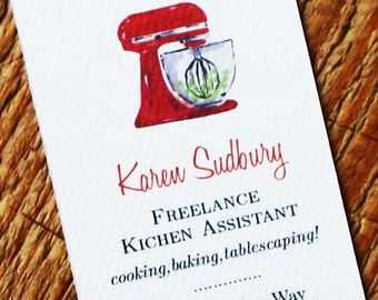 Business Card with Bakery kitchen Mixer  Illustration - Set of 50