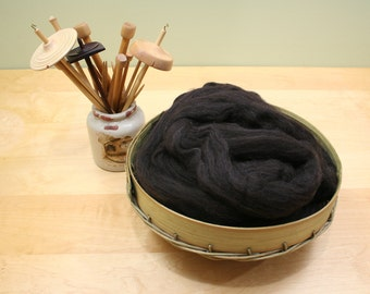 Shetland Wool Top - Natural Black - Undyed Roving for Spinning or Felting (8 oz)
