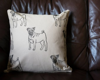 Pug Print Cushion Cover