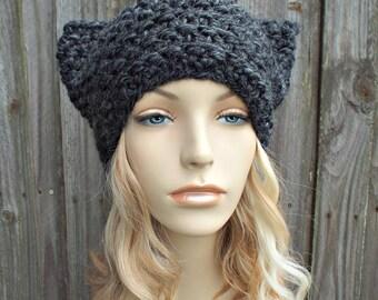 Charcoal Grey Cat Hat - Thermal Crochet Hat Women Warm Winter Beanie - Grey Hat Grey Beanie - Pussyhat Pussy Hat