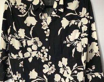Vintage Escada Sport Black and White Floral print shirt. US 10 EU 40