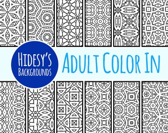 Adult Color In Scrapbooking Paper // Detailed Coloring Pages Digital Paper // Digital Scrapbooking Colouring In // Coloring in Paper