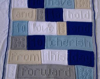 Wedding or Anniversary blanket, crochet wedding vows blanket, crochet afghan, crochet wedding throw, anniversary blanket, popcorn afghan