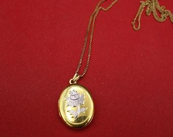 Vintage Gold filled etched Flower Locket, Gold Oval Locket
