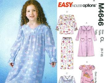 McCall's 4646 Nightgown, Robe, Pajamas PJs Sizes 6, 7, 8  ©2004 English & Spanish Instructions