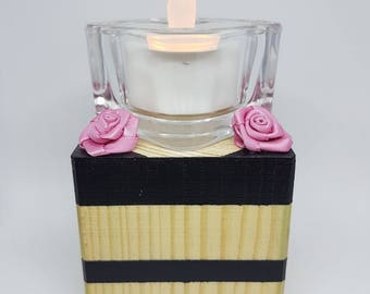 Square candle holder wood recycled pink satins - striped black-romantic-artisan-made hand
