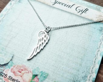 Dainty Angel Wing 925 Sterling Silver Memorial Charm Necklace Sympathy Gift for Her Women's Miscarriage Loss of Loved one Plain Single Wings