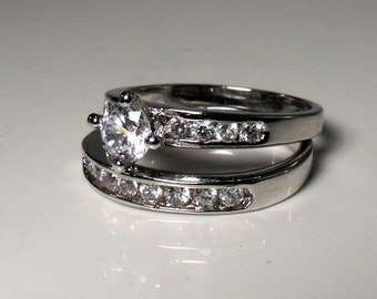Wedding set in Sterling Silver and Cubic Zirconia RF035
