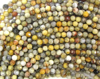 """4mm faceted natural crazy lace agate round beads 15"""" strand 32220"""