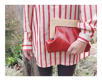 Ruby Leather and Timber Clutch