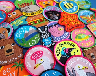 Five Patch Bundle - 5 Mix & Match Multi Buy Discount, Iron on embroidered Patches, Funny Patch, Pun Patch, Cute Patches, Easy fix patch
