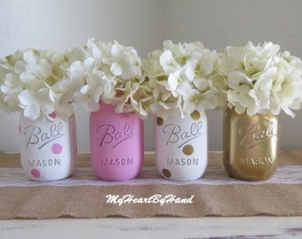 Pink and Gold Centerpieces, Pink and Gold Baby Shower Decorations, Mason Jars, Party Supplies, Rustic Home Decor, Nursery Decor, Vases