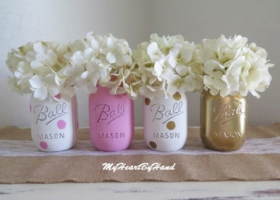 Pink And Gold Mason Jar Centerpieces 4 Pink And Gold 16oz