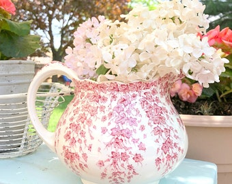 IRONSTONE Pitcher, by Early English, Crown Ducal, Joy Pattern, Pink Ivy, Replacement China - ca. 1930s+