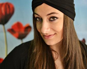 Black Headband, Yoga Headband, Headbands, Twist Headband, Boho Headband, Black Turban, Bohemian Headband, Elastic Headband, Womens Headband