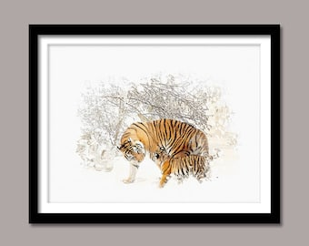Tiger Print, Tiger Digital Print, Animal Printable Art, Tiger Abstract Print, Tiger Printable Poster, Watercolor Art, Wall Decor, Painting