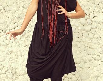 Black Harem Jumpsuit / Asymmetric Jumpsuit / Plus Size Black Jumpsuit TJ03