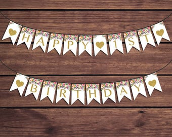 Happy Birthday Banner, Happy 1st Birthday Bunting, Floral Birthday Banner Colorful Flowers Instant Download PDF Printable 891