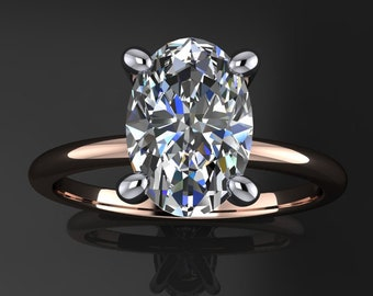 naked shay ring – 2.1 carat elongated oval ZAYA moissanite engagement ring