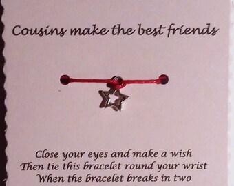 Cousin Wish Bracelet, Cousin Gift, Friendship bracelet, Charm bracelet, Cord Bracelet, Gift Cousin, Cousins Day Gift, Make a wish bracelet
