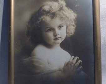 German vintage black and white portrait praying girl with curly hair-old wooden frame
