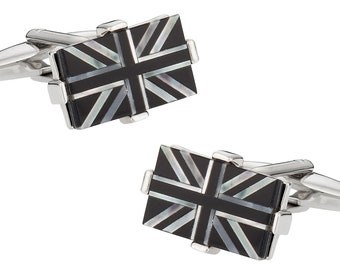 Luxury Union Jack Cufflinks with Onyx and Mother of Pearl