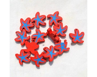 Set of 2 wooden star beads in the shape of Starfish