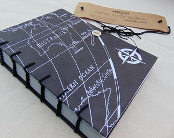 Coptic Stitch Journal | Black World Map Design | Ruled & Dated Pages | 20.5 cm x 15.5 cm