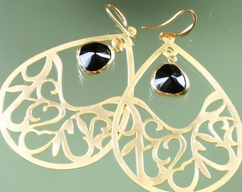 FINAL SALE * 50% off * SALE * earrings -16k gold plated - black faceted glass
