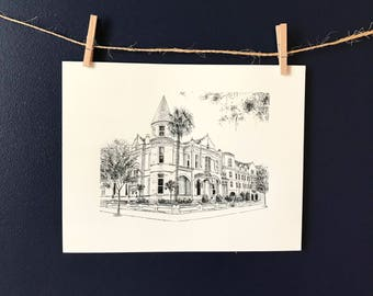 The Mansion on Forsyth Park Savannah Pen and Ink Print Drawing