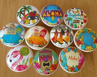 Aloha Summer Wood Knob with Fun Beach on Cherry Wood Knobs  1.5 x 1.18 - Dresser Knob, Dresser Pulls, Kids room Set 8, 10
