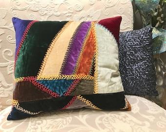Velvet Pillow Vintage Antique Patchwork Jeweltone