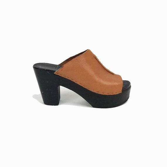 No.6 STORE Front Seam Clogs in Palomino / Wood Leather Clogs High Heel - 38 / Size 7