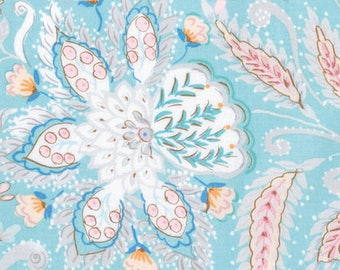 SALE Dena Designs Isabelle Ornate in Blue - Floral Fabric by the Yard - Blue Pink - Watercolor Floral Quilting Boutique Clothing Fabric