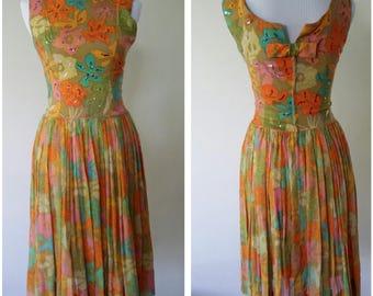 Arkay dress, S, M, 50's dress, 60's dress, floral dress, orange dress, cotton dress, boatneck dress, vintage 50s, vintage 60s