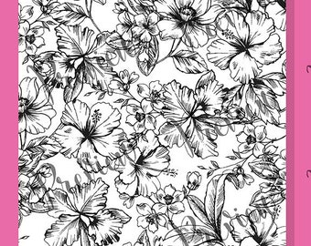 Spring / Summer Tropical Floral Coloring Page